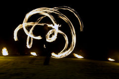 Fire show. On a wedding night royalty free stock photo