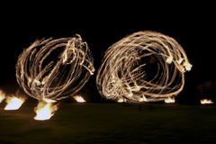Fire show. On a wedding night royalty free stock photography