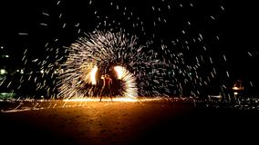 Fire show at White Sand Beach. On Koh Chang, Thailand, by night Royalty Free Stock Image