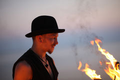 Fire showman profile Royalty Free Stock Images