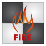 Fire sign on abstract background. Royalty Free Stock Photo