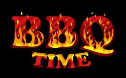 Fire sign BBQ time logo design template.  Royalty Free Stock Photos