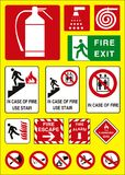Fire sign emergency. Vector fire sign round and square Stock Images
