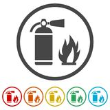 Fire sign , Fire extinguisher icon, 6 Colors Included. Simple  icons set Royalty Free Stock Photos