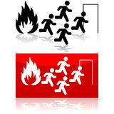 Fire sign. Icon illustration showing people running from a fire towards a door Stock Photos