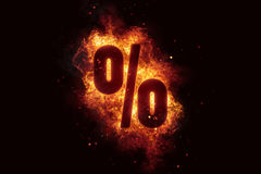 Fire sign Percent text on fire flames explosion burning. Explode Royalty Free Stock Photography