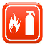 Fire sign , vector. Red fire sign, on button Royalty Free Stock Images