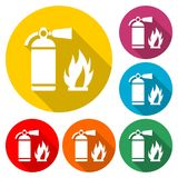 Fire sign vector, Fire extinguisher icon, color icon with long shadow. Simple vector icons set Royalty Free Stock Photography