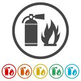 Fire sign vector, Fire extinguisher icon, 6 Colors Included. Simple vector icons set Royalty Free Stock Photography