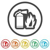 Fire sign vector, Fire extinguisher icon, 6 Colors Included. Simple vector icons set Royalty Free Stock Photo