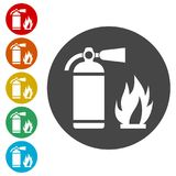 Fire sign vector, Fire extinguisher icon. Simple vector icons set Royalty Free Stock Photography