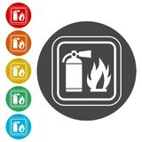 Fire sign vector, Fire extinguisher icon. Simple vector icons set Stock Image