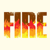 Fire sign. Vector fire poster with double exposure effect Stock Photography
