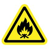 Fire sign yellow. Fire warning sign in yellow triangle, isolated on white background. Flammable, inflammable substances icon. Safety icon. Vector illustration Stock Images