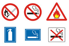Fire signs and symbols. Miscellaneous symbols and signs related to fire Royalty Free Stock Photos