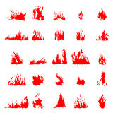 Fire silhouette set. On white background Royalty Free Stock Photo