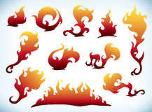 Fire silhouettes. Set of decorative flame tattoos Royalty Free Stock Photography