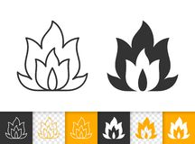 Fire simple flame bonfire black line vector icon. Fire black linear and silhouette icons. Thin line sign of bonfire. Flame outline pictogram isolated on white royalty free illustration