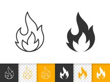 Fire simple flame bonfire black line vector icon. Fire black linear and silhouette icons. Thin line sign of bonfire. Flame outline pictogram isolated on white stock illustration