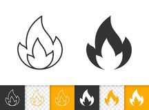 Fire simple flame bonfire black line vector icon. Fire black linear and silhouette icons. Thin line sign of bonfire. Flame outline pictogram isolated on white vector illustration