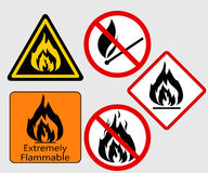 Fire sing. Extremely Flammable, Burning Fire sing, Bonfire Flame,  prohibited, warning vector symbol set Royalty Free Stock Image