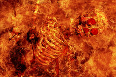 Fire skeleton. In the hell royalty free stock image