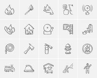 Fire sketch icon set. Royalty Free Stock Images