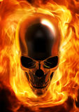 Fire skull. 3D render of blazing metal skull Stock Photos