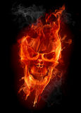 Fire skull. On black background