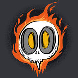 Fire skull cartoon character Royalty Free Stock Image
