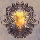 Fire skull on graphic background with grunge. Texture,illustration art Stock Photography