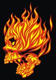 Fire skull. Isolated on the black background Stock Photography