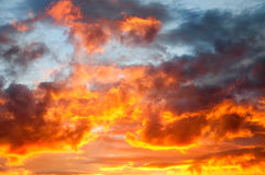 Fire in the sky stock image
