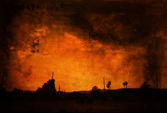 Fire sky background. Fire sky as background with texture layering Stock Image