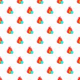 Fire and sky blue shield pattern, cartoon style. Fire and sky blue shield with tick pattern. Cartoon illustration of fire and sky blue shield with tick vector Stock Photos