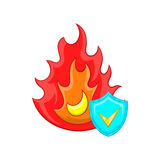 Fire and sky blue shield with tick icon Royalty Free Stock Photos