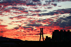 Fire sky. In the dadaocheng Royalty Free Stock Photography