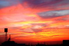 Fire in the sky. Sky in the evening cloudscape background royalty free stock photos