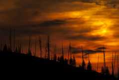Fire Sky GNP. Sunset at Glacier National Park royalty free stock photos