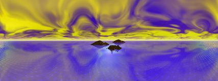 Fire in the sky, panoramic. Islands set in blue sea with wild yellow cloud sky Stock Image