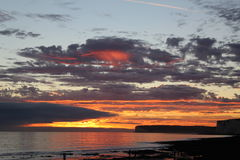 Fire in the Sky. Sunset @ Birling Gap, Nr Eastbourne, East Sussex stock photos