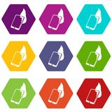 Fire smartphone icons set 9 vector. Fire smartphone icons 9 set coloful isolated on white for web Stock Photography
