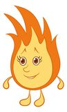 Fire smiley. Cartoon, smiling fire with red hair and brown eyes Royalty Free Stock Images
