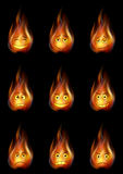 Fire Smileys Set. Set of Smileys, Stylized Flames, Symbolizing Various Human Emotions. Eps10, Contains Transparencies. Vector Royalty Free Stock Photos