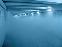 Fire smog in blue tunnel, interior details, Royalty Free Stock Photography