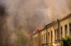 Fire and smoke. In the city Stock Image
