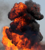 Fire and smoke. Large industrial fire with thick black smoke Royalty Free Stock Photo