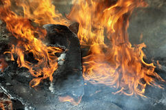 Fire and smoke. Burning wood and flames, see the charred remains Stock Photo