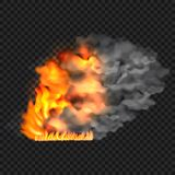 Fire and smoke concept background, realistic style. Fire and smoke concept background. Realistic illustration of fire and smoke vector concept background for web Stock Photography