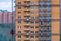 Facade work on the construction site stock image
